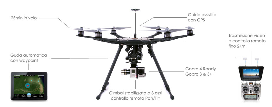 drone gopro f550 per riprese video